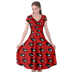 Eyes Red Cap Sleeve Wrap Front Dress by snowwhitegirl