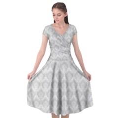 Damask Grey Cap Sleeve Wrap Front Dress