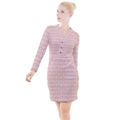 Damask Peach Button Long Sleeve Dress by snowwhitegirl