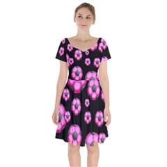 Wallpaper Ball Pattern Pink Short Sleeve Bardot Dress by Alisyart
