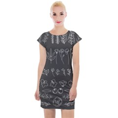 Graphic Background Sign Symbol Cap Sleeve Bodycon Dress
