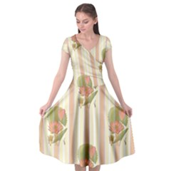 Lotus Flower Waterlily Wallpaper Cap Sleeve Wrap Front Dress