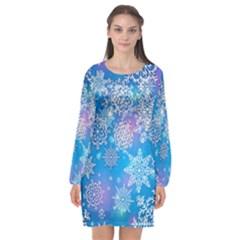 Snowflake Background Blue Purple Long Sleeve Chiffon Shift Dress