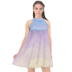 Sunrise Sunset Colours Background Halter Neckline Chiffon Dress