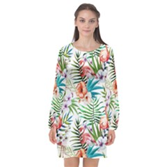 Tropical Flamingos Long Sleeve Chiffon Shift Dress  by goljakoff