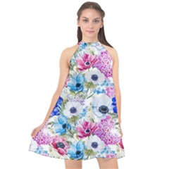 Blue And Purple Flowers Halter Neckline Chiffon Dress