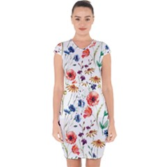 Rainbow Flowers Capsleeve Drawstring Dress  by goljakoff