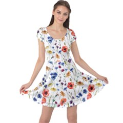 Colorful Flowers Cap Sleeve Dress by goljakoff