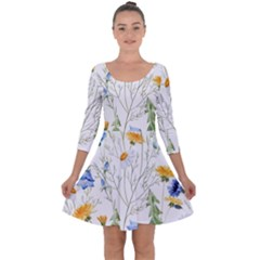 Blue And Yellow Flowers Quarter Sleeve Skater Dress