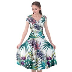 Monstera Flowers And Leaves Cap Sleeve Wrap Front Dress by goljakoff