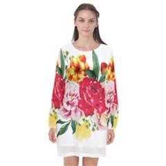 Watercolor Flowers Long Sleeve Chiffon Shift Dress  by goljakoff