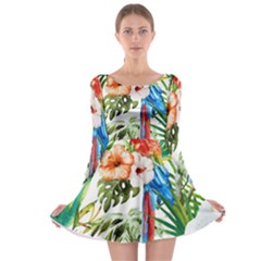Tropical Parrots Long Sleeve Skater Dress by goljakoff