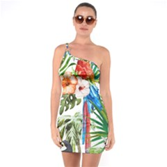 Tropical Parrots One Soulder Bodycon Dress by goljakoff
