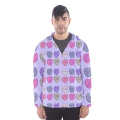 Valentine Hearts Lilac Hooded Windbreaker (men) by snowwhitegirl