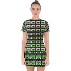 Green Cassette Drop Hem Mini Chiffon Dress
