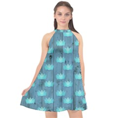 Zen Lotus Wood Wall Blue Halter Neckline Chiffon Dress