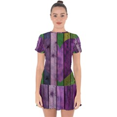 Wood Wall Heart Purple Green Drop Hem Mini Chiffon Dress