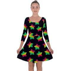 Ombre Glitter Pink Green Star Pat Quarter Sleeve Skater Dress