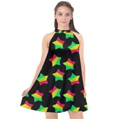 Ombre Glitter Pink Green Star Pat Halter Neckline Chiffon Dress