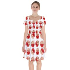 Kawaii Jam Jar Pattern Short Sleeve Bardot Dress