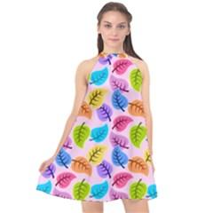 Colorful Leaves Halter Neckline Chiffon Dress  by snowwhitegirl