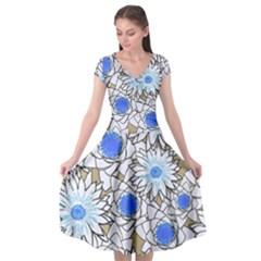 Vintage White Blue Flowers Cap Sleeve Wrap Front Dress