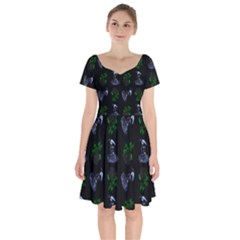 Gothic Girl Rose Black Pattern Short Sleeve Bardot Dress