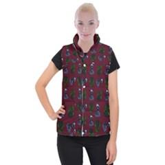 Gothic Girl Rose Red Pattern Women s Button Up Vest by snowwhitegirl