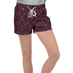 Gothic Girl Rose Red Pattern Women s Velour Lounge Shorts by snowwhitegirl