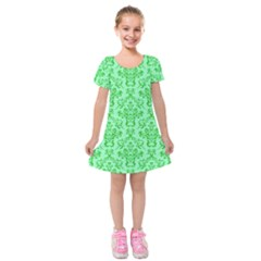 Victorian Paisley Green Kids  Short Sleeve Velvet Dress