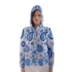 Retro Paisley Blue Hooded Windbreaker (women) by snowwhitegirl