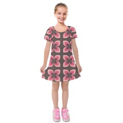 Retro Flower Pink Brown Kids  Short Sleeve Velvet Dress