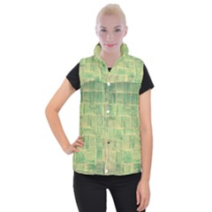 Abstract Green Tile Women s Button Up Vest by snowwhitegirl