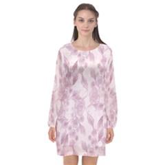 Pink Floral Long Sleeve Chiffon Shift Dress  by snowwhitegirl