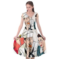 Retro Sailor Eating Cookie Cap Sleeve Wrap Front Dress by snowwhitegirl