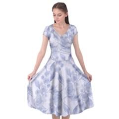 Blue Floral Cap Sleeve Wrap Front Dress