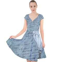 Vintage Hot Air Balloon Lettter Cap Sleeve Front Wrap Midi Dress by snowwhitegirl