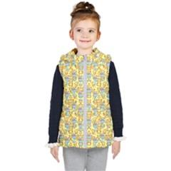 Paisley Yellow Sundaes Kids  Hooded Puffer Vest by snowwhitegirl