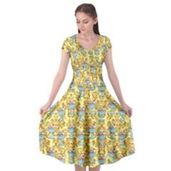 Paisley Yellow Sundaes Cap Sleeve Wrap Front Dress