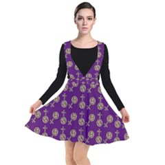 Victorian Crosses Purple Plunge Pinafore Dress by snowwhitegirl