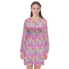 Paisley Pink Sundaes Long Sleeve Chiffon Shift Dress  by snowwhitegirl