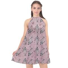 Skeleton Pink Background Halter Neckline Chiffon Dress
