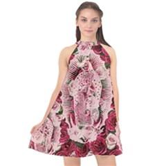 Guadalupe Roses Halter Neckline Chiffon Dress  by snowwhitegirl