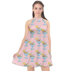 Ice Cream Sundae Pink Halter Neckline Chiffon Dress