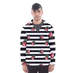 Black Stripes Roses Hooded Windbreaker (men) by snowwhitegirl