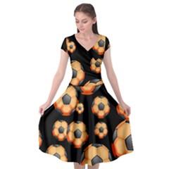 Wallpaper Ball Pattern Orange Cap Sleeve Wrap Front Dress by Alisyart