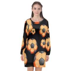 Wallpaper Ball Pattern Orange Long Sleeve Chiffon Shift Dress