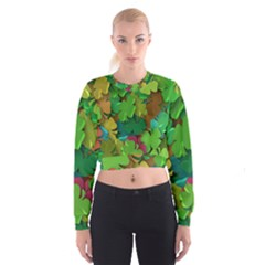 Shamrock Four Leaf Clover Cropped Sweatshirt by AnjaniArt