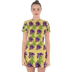 Grapes Background Sheet Leaves Drop Hem Mini Chiffon Dress