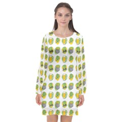 St Patricks Day Background Symbols Long Sleeve Chiffon Shift Dress  by Desi8477